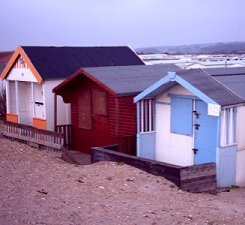Old-fashioned beach huts at Heacham